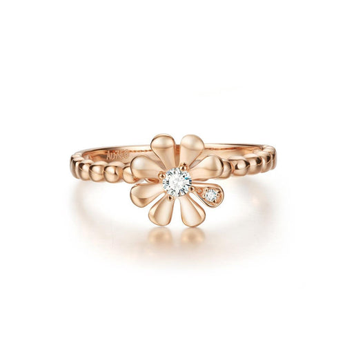 """Charlotte"" 14k Daisy Flower Rose Gold Ring"
