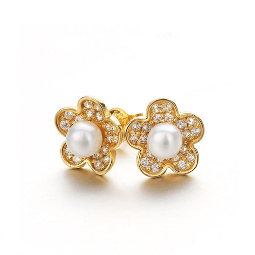 """Amelia"" Daisy Flower 14K Yellow Gold Stud Earrings"