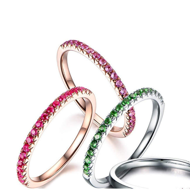Line & Dots 14K Solid Rose Gold Semi Eternity Ruby Wedding Band - FANCI ME