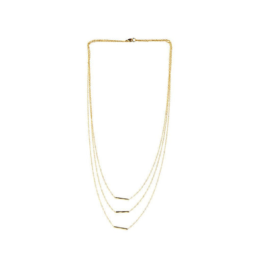 Cascade Tube Yellow Gold Necklace - FANCI ME