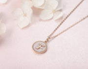 """F"" Solid 14K Rose Gold Initial Dainty Pendant Necklace - FANCI ME"