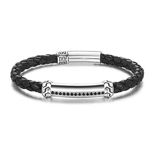 FREEDOM 925 Sterling Silver Mens Leather Bracelet - Black - FANCI ME