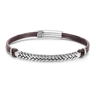 FOOTPRINT 925 Sterling Silver Mens Leather Bracelet - Brown - FANCI ME