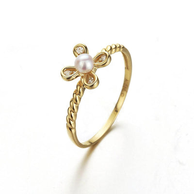 """Sophie"" 14K Cz Four Petals Pearl Flower Ring - FANCI ME"