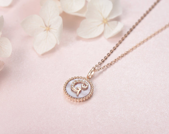"""G"" Solid 14K Rose Gold Initial Dainty Pendant Necklace"