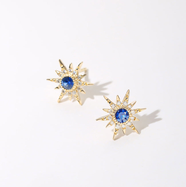 """Golden Burst"" 18K Yellow Gold Blue Sapphire Star Earrings - FANCI ME"