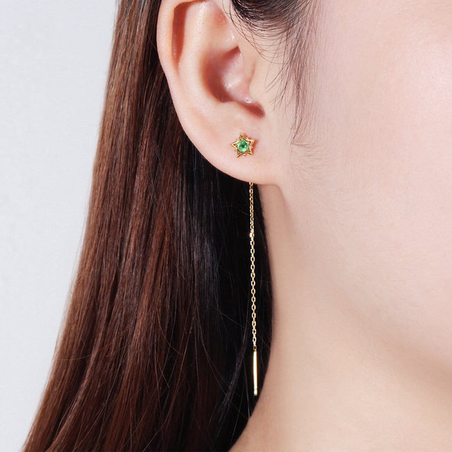 Star Emerald Gold Earrings