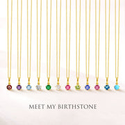 Delicate October Birthstone Tourmaline Necklace in 18K Solid Yellow Gold - FANCI ME