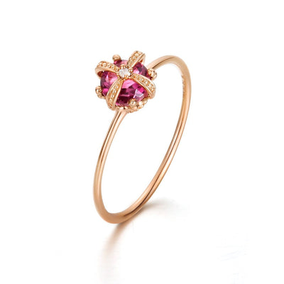 18k gold with Natural Fancy Pink Tourmaline Gemstones Crown Ring - FANCI ME