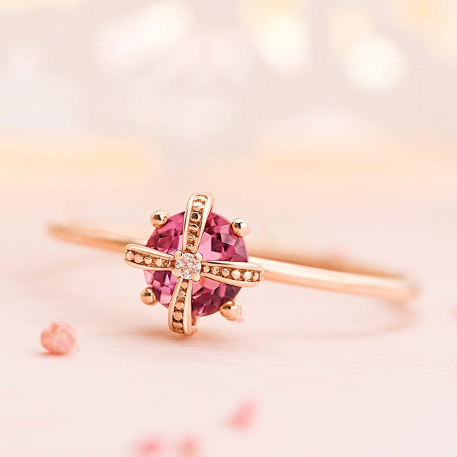 Fancy Pink Tourmaline Gold Ring
