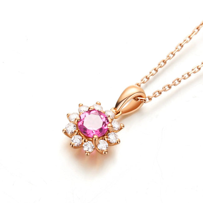 Sunflower Pink Tourmaline Pendant Necklace