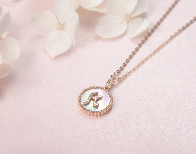 """H"" Solid 14K Rose Gold Initial Dainty Pendant Necklace"