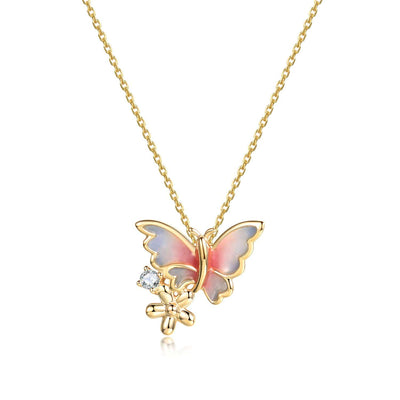 """Golden Dream"" 18K Solid Yellow Gold Diamond Enamel Unicorn Color Butterfly Pendant Necklace - FANCI ME"