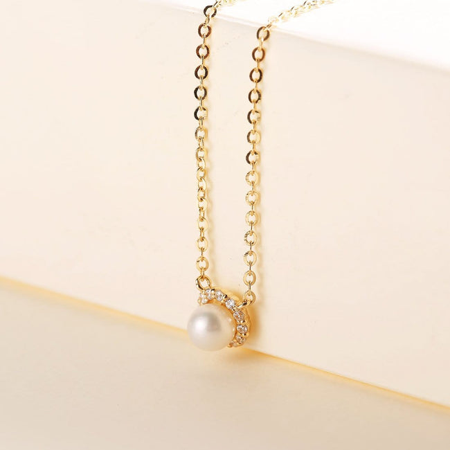 """Ava"" Halo Pearl Pendant Necklace"