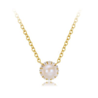 """Ava"" 14K Halo Pearl Pendant Necklace - FANCI ME"