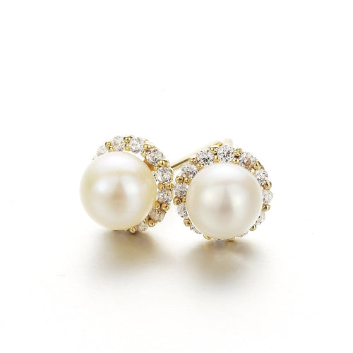 """Ava"" Halo Pearl 14k Yellow Gold Stud Earrings"
