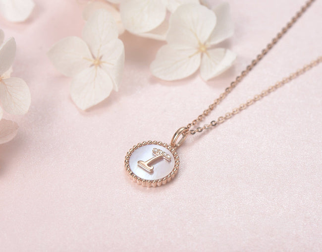 """I"" Solid 14K Rose Gold Initial Dainty Pendant Necklace"