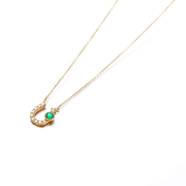 """Krystal"" 18K Yellow Gold Lucky Horseshoe Natural Emerald Necklace"