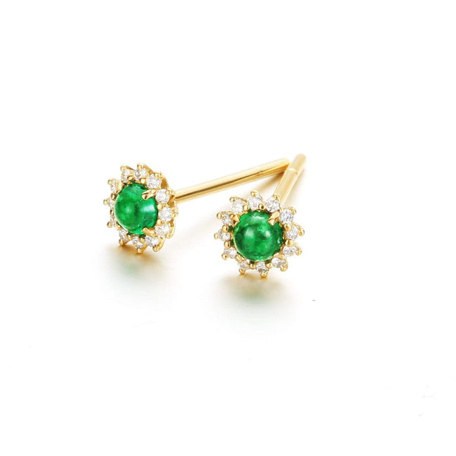 """Kay"" 18K Yellow Gold Diamond Emerald Flower Stud Earrings"