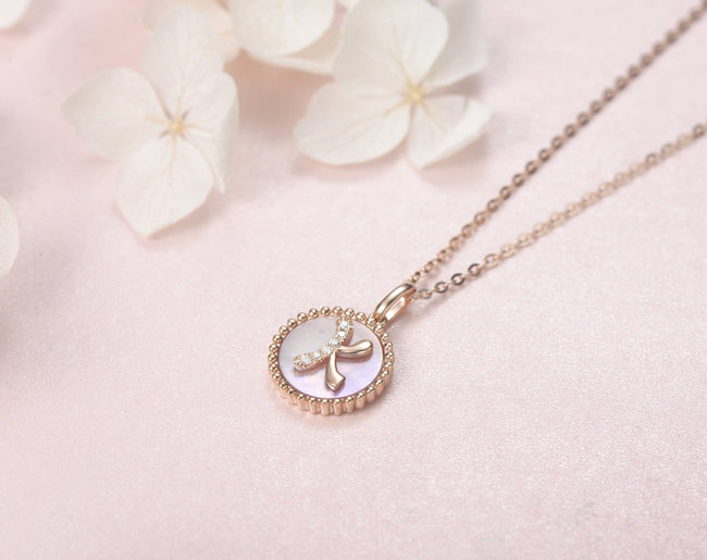 """K"" Solid 14K Rose Gold Initial Dainty Pendant Necklace"