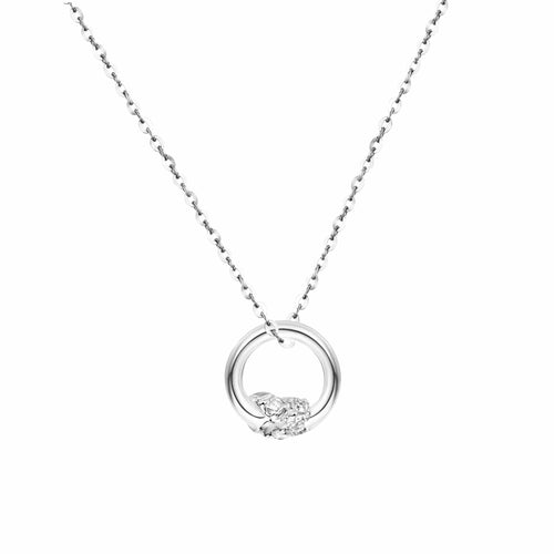 """Knot Infinitely"" 18K White Gold Diamond Circle Necklace - FANCI ME"