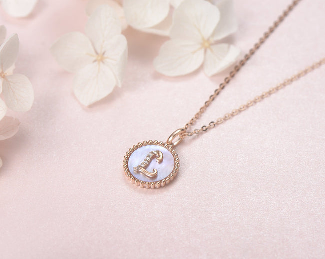 """L"" Solid 14K Rose Gold Initial Dainty Pendant Necklace"