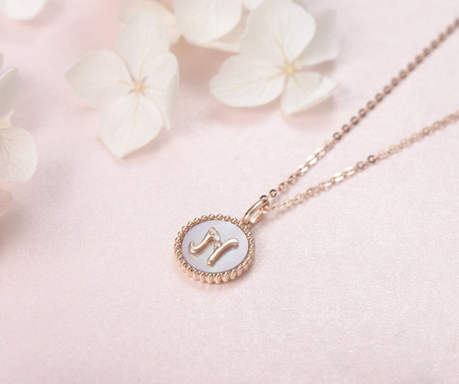 """N"" Solid 14K Rose Gold Initial Dainty Pendant Necklace"