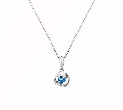 Blue Valentine Rose Pendant Necklace with Blue Topaz - FANCI ME