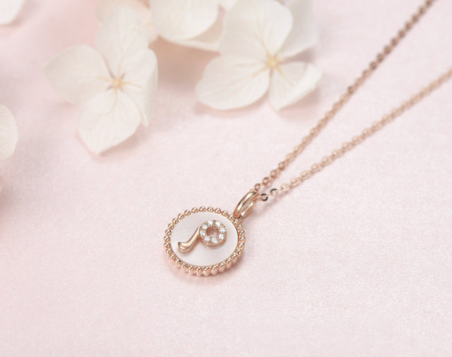 """P"" Solid 14K Rose Gold Initial Dainty Pendant Necklace"
