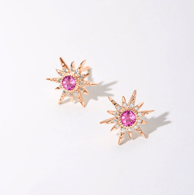 """Pink Burst"" 18K Rose Gold Tourmaline Star Earrings - FANCI ME"