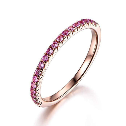 Line & Dots 14K Solid Rose Gold Semi Eternity Pink Sapphire Wedding Band - FANCI ME