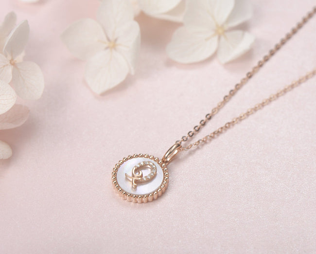 """Q"" Solid 14K Rose Gold Initial Dainty Pendant Necklace"