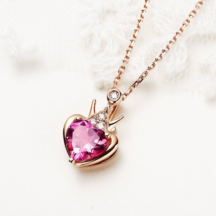"""Pink Queen"" Pink Heart Tourmaline and Diamond Pendant Necklace in 18K Rose Gold - FANCI ME"