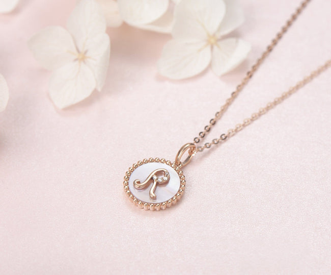 """R"" Solid 14K Rose Gold Initial Dainty Pendant Necklace"