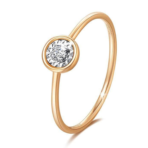 Line & Dots 18K Solid Rose Gold Solitaire Diamond Ring - FANCI ME