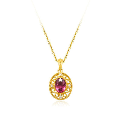 """Monica"" Oval Garnet Pendant Necklace - FANCI ME"