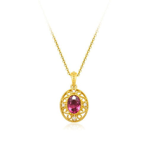 """Monica"" Oval Garnet Pendant Necklace"