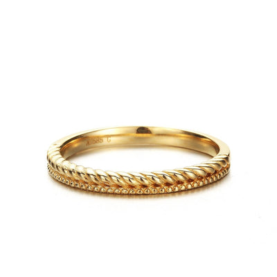 """Evan"" 14K real yellow gold Stackable Gold Band Ring - FANCI ME"