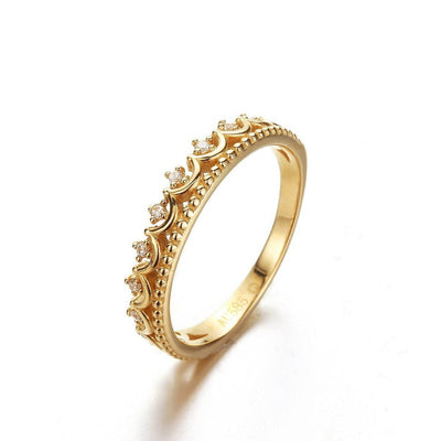 """Elsa"" 14K Yellow Gold Crown Ring - FANCI ME"