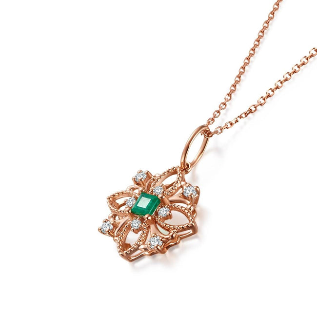 """Eliane"" Emerald Pendant Necklace"