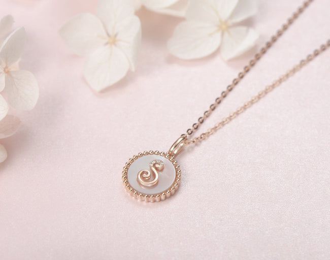 """S"" Solid 14K Rose Gold Initial Dainty Pendant Necklace"