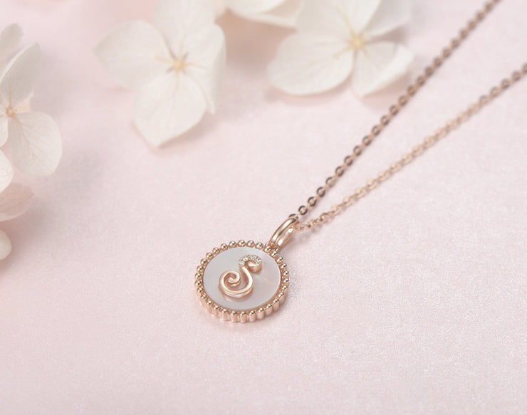 """S"" Solid 14K Rose Gold Initial Dainty Pendant Necklace - FANCI ME"