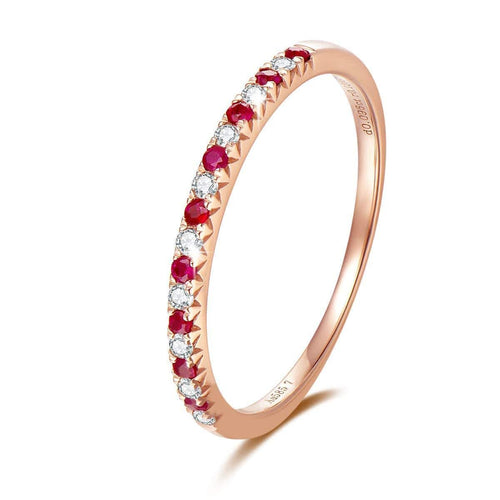 Line & Dots 14K Solid White Gold Semi Eternity Diamond Wedding Band with Ruby - FANCI ME