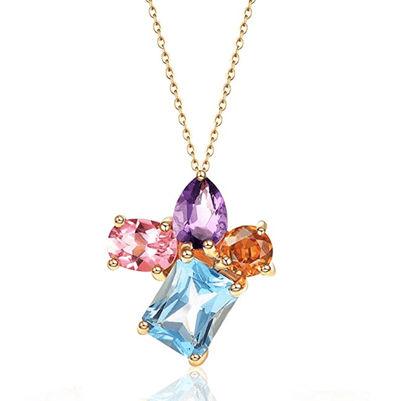 "FANCIME 14k Solid Yellow Gold 3 Carat Multicolored Pendant Necklace, 16""+2"" Extender - FANCI ME"
