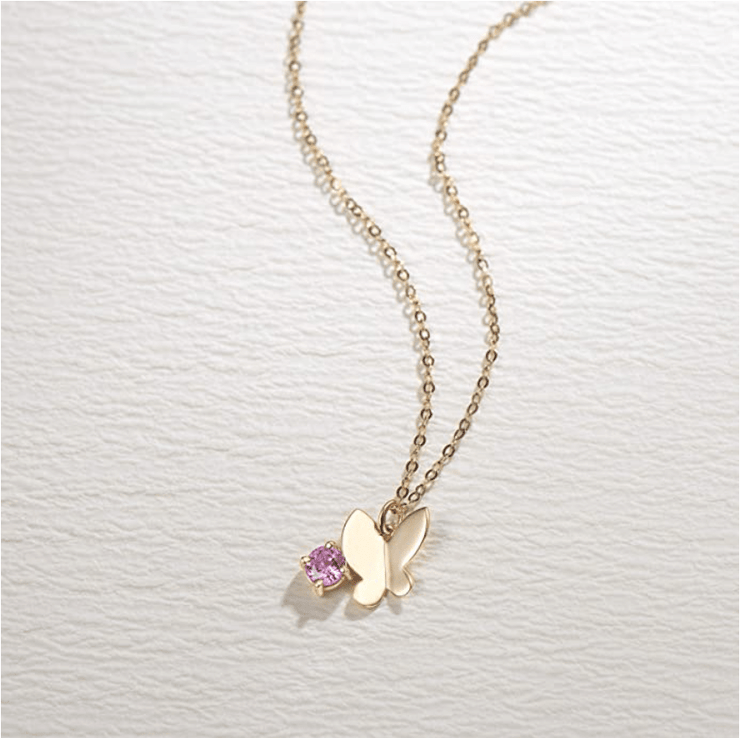 """Pink Lady"" 18K Yellow Gold Butterfly Necklace With Natural Pink Sapphire, 16+2"" Chain - FANCI ME"