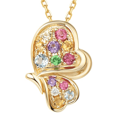 """Magical Dream"" 14K Yellow Gold Color Gemstone and Diamond Butterfly Pendant Necklace - FANCI ME"