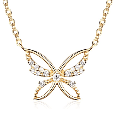 """Yellow Cosmo"" 14K Yellow Gold Diamond Butterfly Necklace, 16+2"" Chain - FANCI ME"