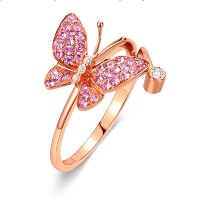 """Fairy Titania"" 18K Rose Gold Pink Sapphire Diamond Pave Butterfly Ring - FANCI ME"