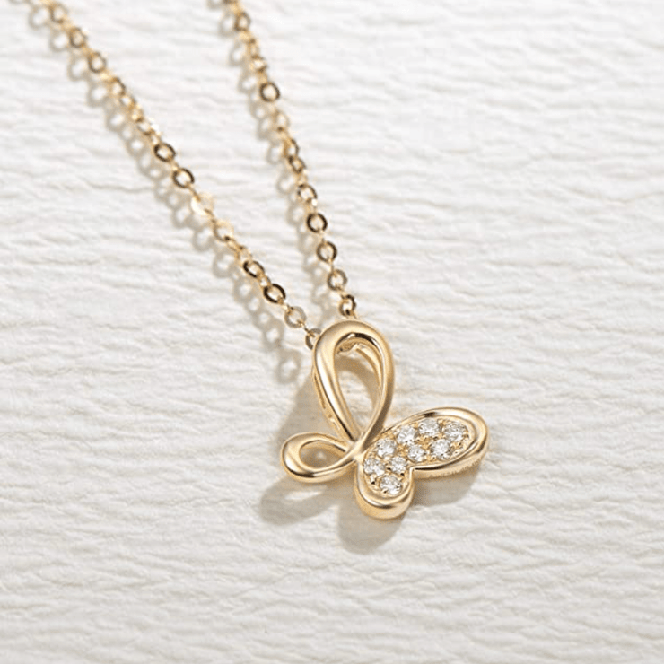 """Valerie"" Diamond Infinity Butterfly Pendant Necklace in 18K Yellow Gold - FANCI ME"