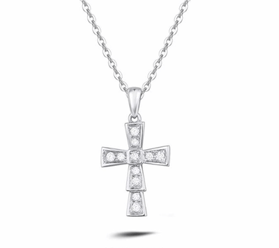 """Andrea"" Diamond Cross Petite Pendant Necklace in 14K White Gold - FANCI ME"